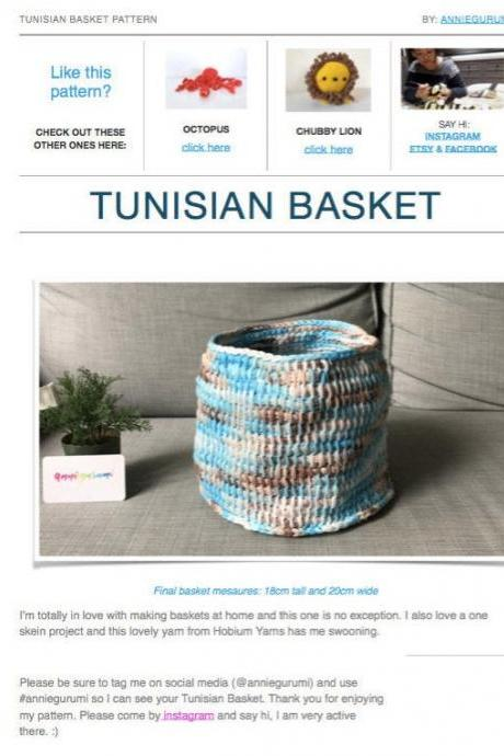 Pattern: Tunisian Crochet Basket (Digital PDF File)
